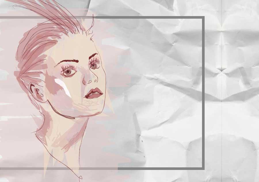illustration fille rose